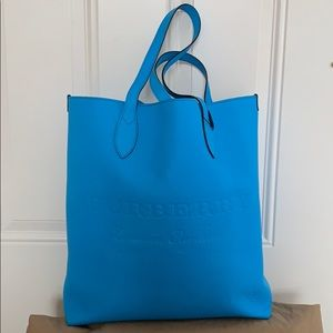 BURBERRY Remington Embossed Leather Tote Neon Blue